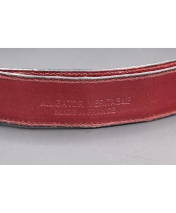 Plum alligator skin belt - back detail