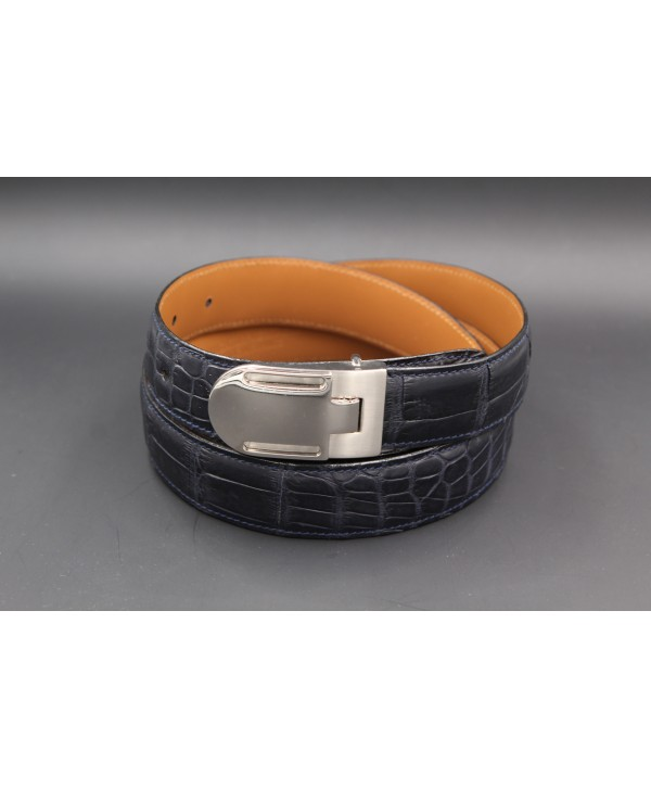 Navy alligator skin belt