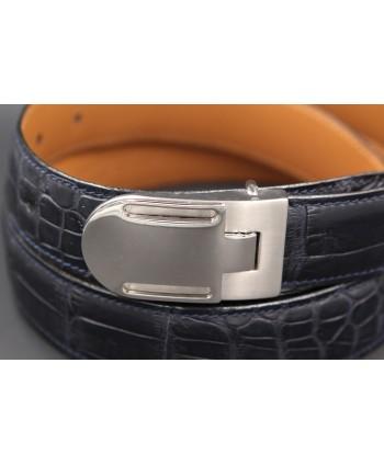 Navy alligator skin belt - buckle detail