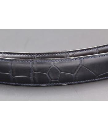 Navy alligator skin belt - skin detail