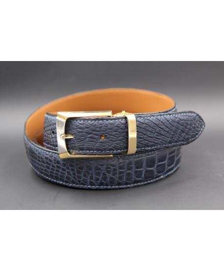 Navy alligator skin belt - golden buckle