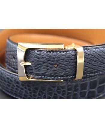 Navy alligator skin belt - golden buckle - buckle detail