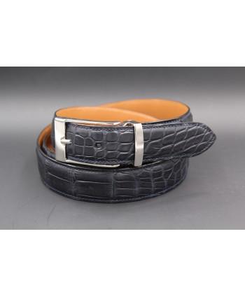 Navy alligator skin belt - nickel buckle