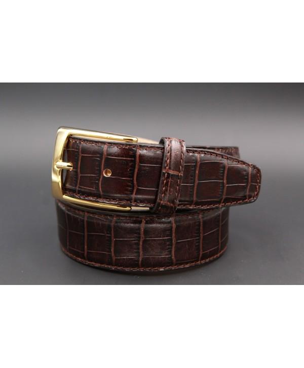 Dark brown crocodile-style cowhide leather belt - golden buckle