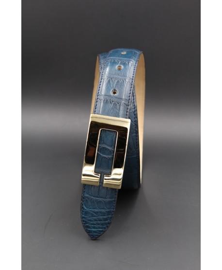 Sapphire blue alligator skin belt