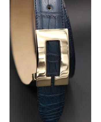 Sapphire blue alligator skin belt - buckle detail