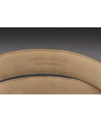 Ceinturon cuir grande taille camel - Boucle rectangulaire motif écaille nickel