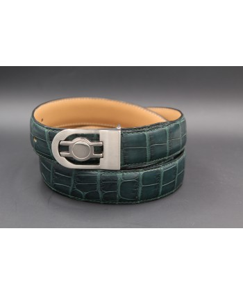 Green alligator skin belt