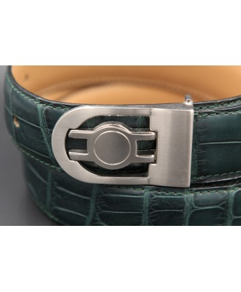 Green alligator skin belt - buckle detail