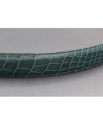 Ceinture en peau d'alligator vert - détail peau