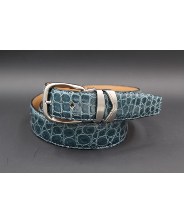 Belt in turquoise alligator skin width 30
