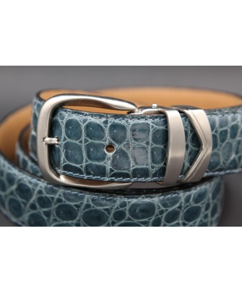 Belt in turquoise alligator skin width 30 - buckle detail