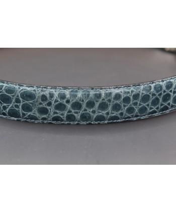Ceinture en peau d'alligator turquoise largeur 30 - détail peau
