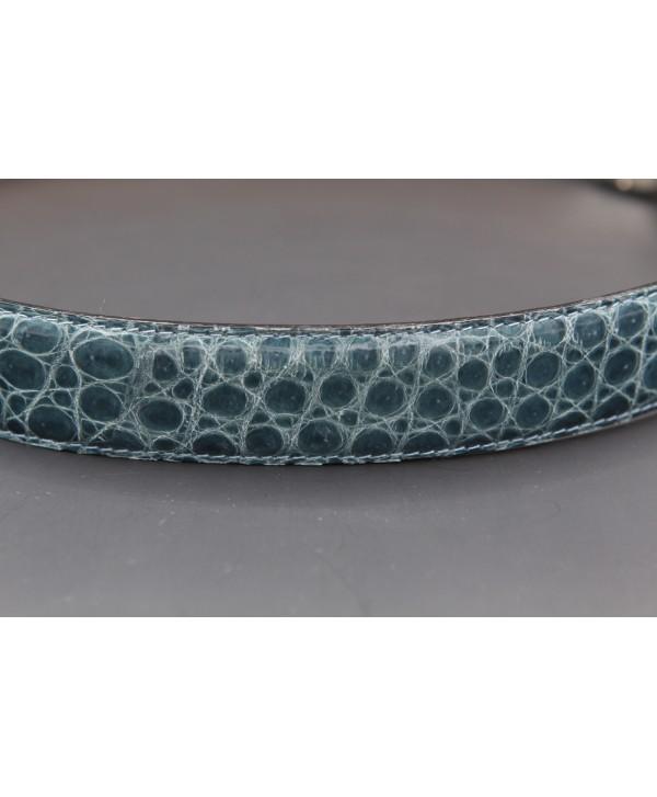 Ceinturon cuir marine - Boucle ovale aigle nickel