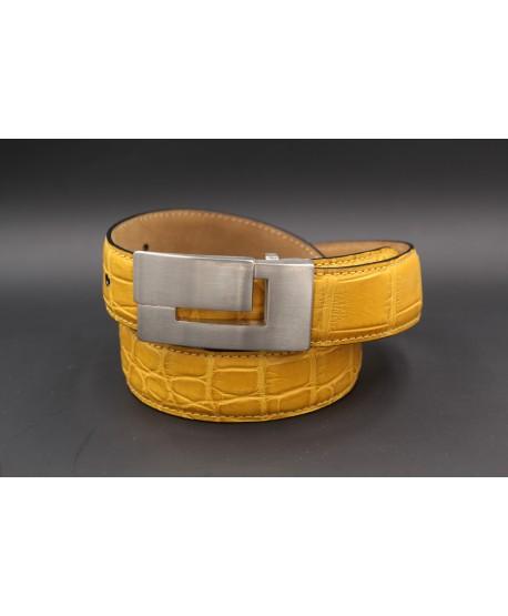Yellow alligator skin belt