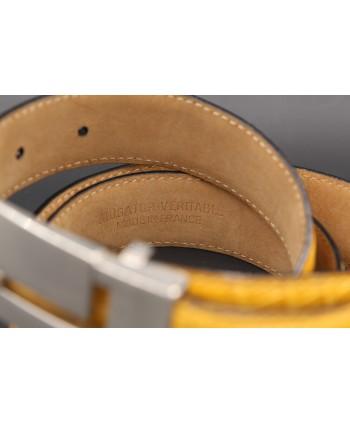 Yellow alligator skin belt - back detail