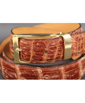 Alligator skin belt shade of gold - buckle detail