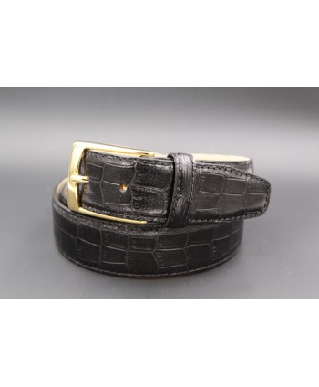 Black crocodile-style cowhide leather belt - golden buckle