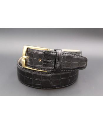 Ceinture cuir noir façon croco - boucle dorée