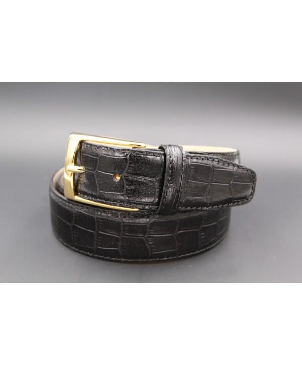 Black crocodile-style cowhide leather belt - golden buckle