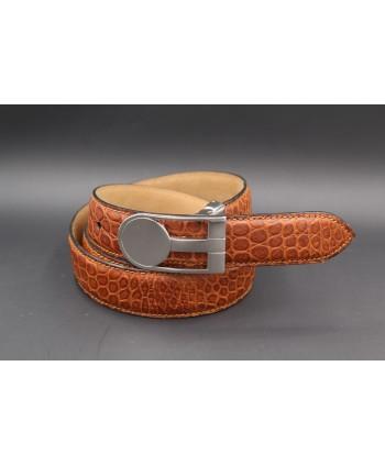 Belt in cognac colored alligator skin width 30