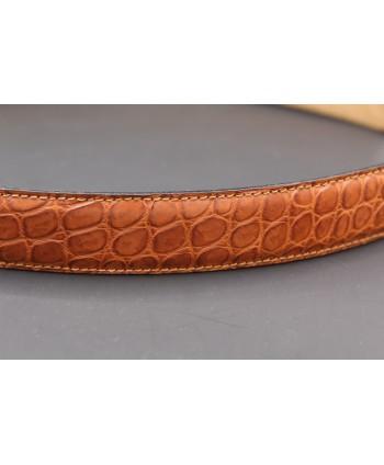 Ceinture en peau d'alligator cognac - détail peau