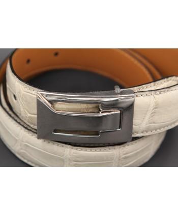 Cream alligator skin belt - buckle detail