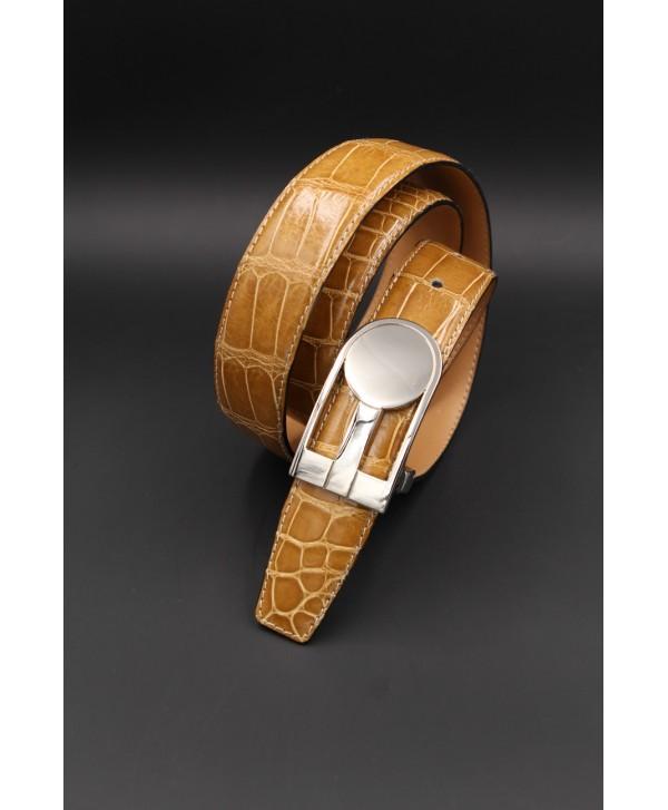 Honey alligator skin belt