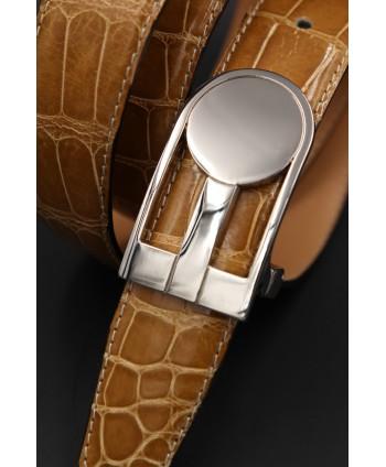 Honey alligator skin belt - buckle detail