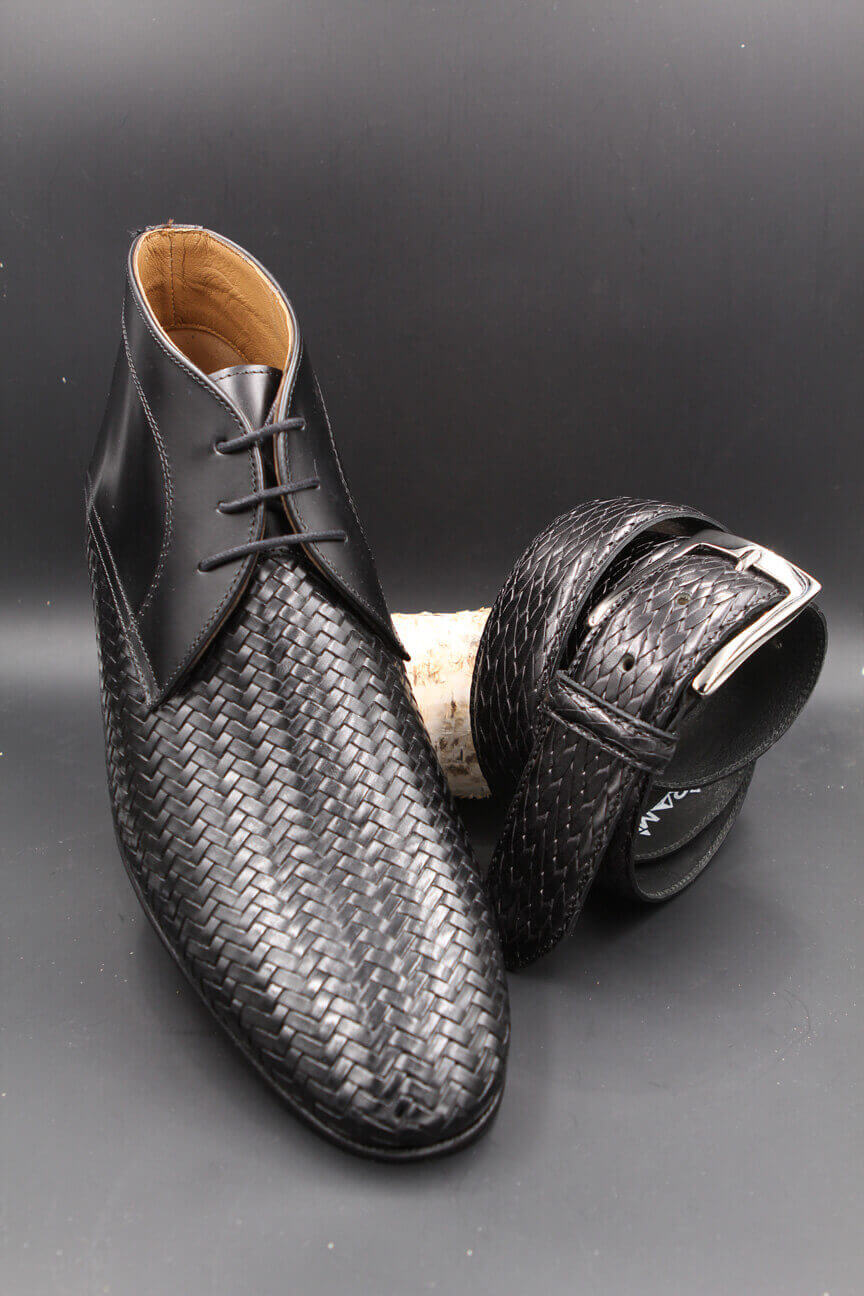 Braided black leather belt and braided black leather shoe