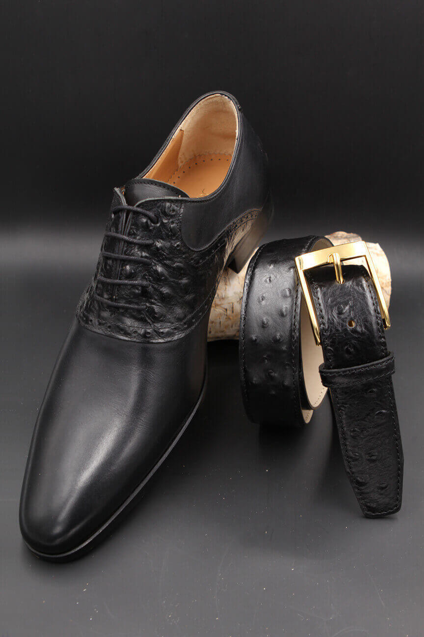 Black ostrich imitation leather belt and black imitation ostrich leather shoe