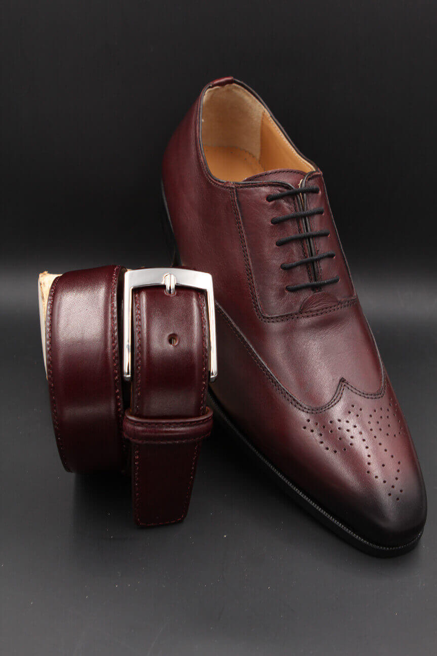 Plum leather belt and plum leather shoe