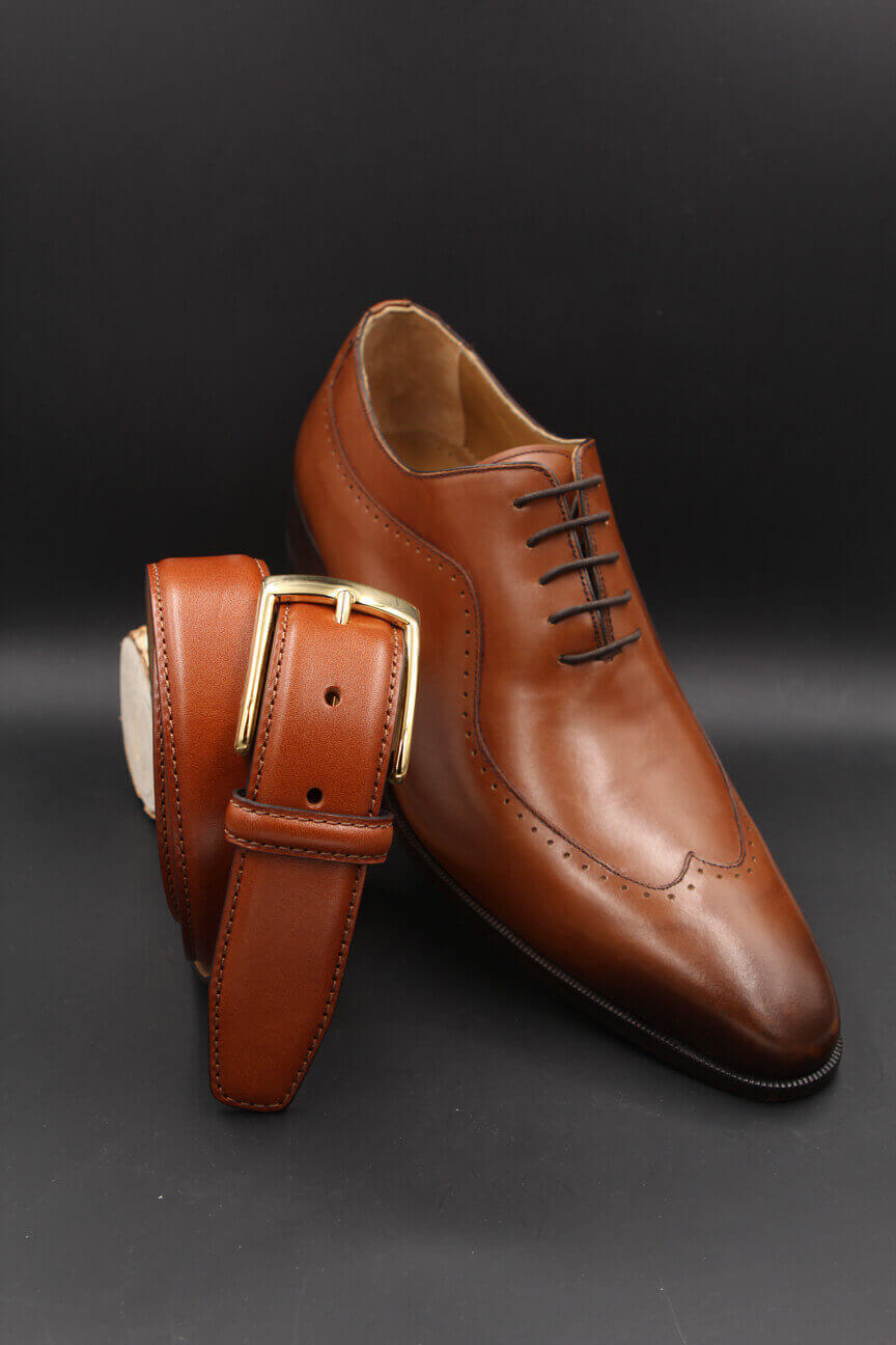 Camel leather belt and camel leather shoe